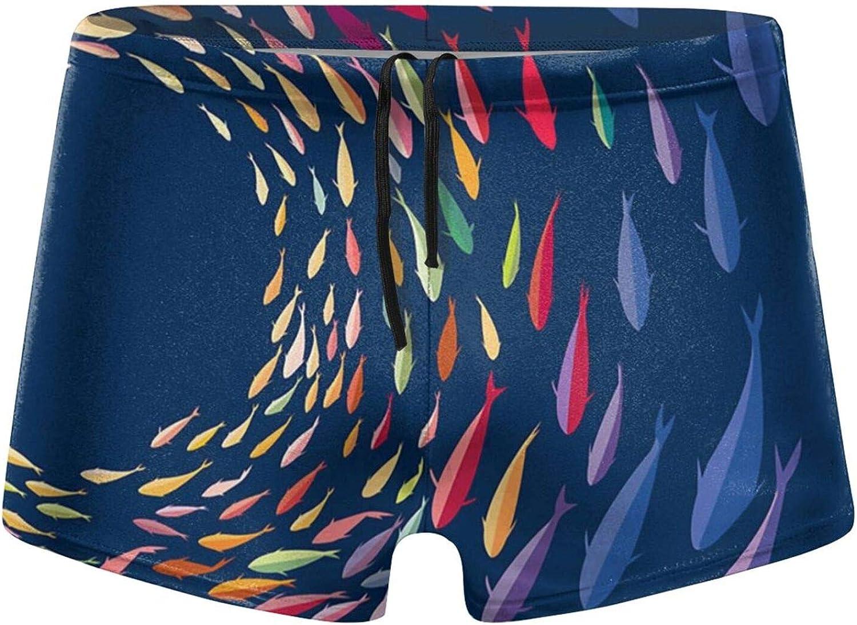 Christmas Fish Waltz Men's Swimming Trunks Fitness Swimwear Boxer Pants Board Shorts