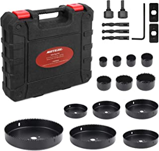 """Best Hole Saw Kit, Meterk 21 Pcs Hole Saw Set 3/4""""-6""""(19-152mm) with 13Pcs Saw Blades, 2 Mandrels, 1 Hex Key, 3 Drill bits, 2 Installation Plate, Ideal for PVC/Cork Board/Drywall/Plastic Plate Drilling Reviews"""