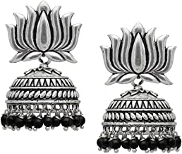 Zukhruf Tribal Collection Oxidized Silver and Crystal Jhumki Earrings for Women & Girls, Silver