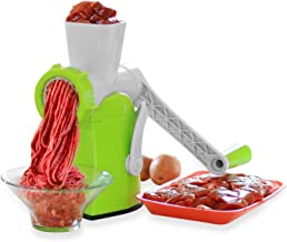 Zalik 4-In-1 Meat Grinder And Juicer - Hand Crank Manual Mincer With Powerful Suction Base - Essential Kitchen Tool To Grind Fish Vegetables Garlic & Fruits - Dessert Maker With Stainless Steel Blades