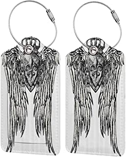 Personalized luggage tag Fleur De Lis Decor Collection Tribal Tattoo Design with Wings Aged Arms Badge Crest Crown Eagle Easy to carry Black and White W2.7