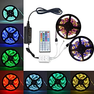 eTopxizu 32.8Ft DC 12V Flexible 5050 RGB LED Strip Light With 44key LED Controller and 12V5A Power Adapter Non-waterproof for Indoor Decoration Novelty