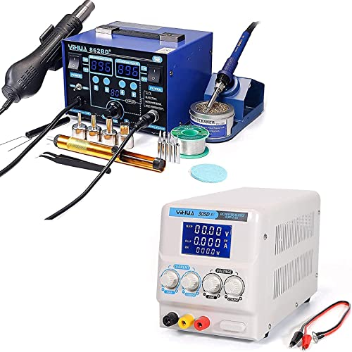 wholesale YIHUA 862BD+ Professional Soldering & Rework Station bundle with YIHUA 305D-IV Regulated DC Lab online Power Supply with Holder, Soldering popular Cleaning Kit, and Accessories (22 Items) outlet sale