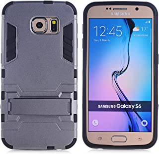Galaxy S6 Case, Hybrid Armor Case [2 in 1] Lightweight Hard PC Cover + Flexible TPU Scratch Resistant with Kickstand for Samsung Galaxy S6 (5.1 inches) 2015 Release - Gray