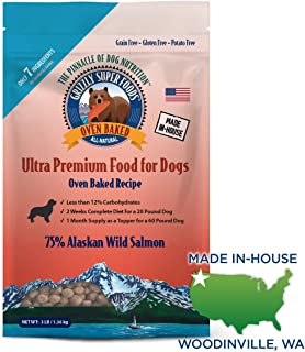 Grizzly Super Foods All-Natural, 7 Ingredient Oven Baked Dog Food | 75 Percent Wild Salmon | Grain Free, Nutritionally Dense | Great Food Topper or Full Meal, Made in USA