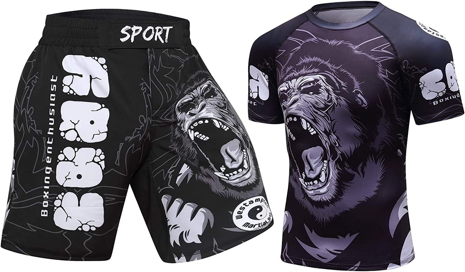 huan Fashion Printing Casual Shirts and MMA Shorts Sports for 2piece Sleeve Suit Men's Sportswear