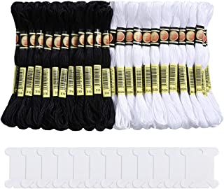 Pllieay 96 Skeins Black and White Embroidery Cross Stitch Threads Halloween Cotton Embroidery Floss, Friendship Bracelets Floss with 12 Pieces Floss Bobbins for Knitting, Cross Stitch Project