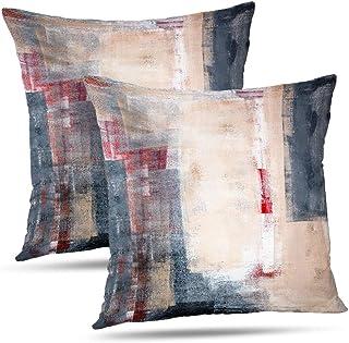 Juego de 2 fundas de almohada Alricc, color beige, gris y rojo, color blanco, negro, galería decorativa para dormitorio, sofá, sala de estar, 45 x 45 cm, 2 unidades