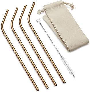 Outset 76628 Copper Bent Long Reusable Straws, 1 x 3.5 x 11.75 inches, Metallic