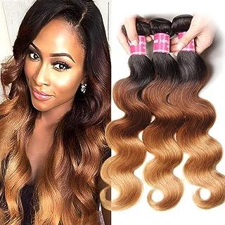 Jolia Hair 8A Brazilian Virgin Hair Weave Body Wave Ombre Blonde Human Hair Bundles 3 Tone #1B/4/27 Brazilian Hair Extensions No Shedding (16 18 20)