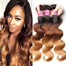 Jolia Hair 8A Colored Hair Weave 16 18 20inch Brazilian Ombre Blonde Body Wave Bundles #1B/4/27 Dark Roots 3 Tone Human Hair Weft Extensions