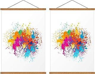 "2 Pack Poster Frame 17x22 17x11 17x24, Magnetic Lightweight Teak Frame Used For Hanger Canvas Artwork And Prints (17.7"")"