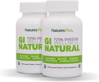 NaturesPlus GI Natural Total Digestive Wellness (2 Pack) - 90 Vegetarian Tablets, Bilayer - Natural Gut Health Supplement,...