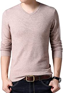 Men's Casual Slim V Neck Winter Wool Cashmere Pullover Jumper Sweater