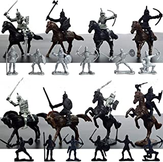28PCS Kids Medieval Knights Army Mens Horses Soldiers Figures Model Playset Children Boy Gifts Action
