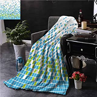 Modern Outdoor Throw Blanket Double-Sided Printing Mosaic Grid Pixel Art Couch Bed Napping Reading Recliner W70 xL84
