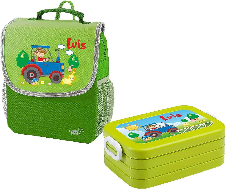 Mein Zwergenland Set 1 Kindergartenrucksack und Brotdose Brotdose Brotdose Happy Knirps Next mit Name Traktor, 2-teilig, Grün B0796QWJP4  | Deutschland Shop  b95379