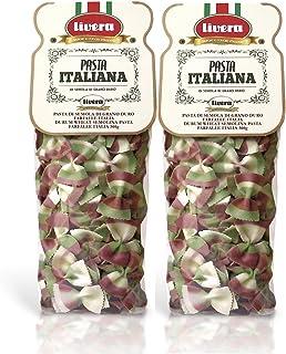 Livera Farfalle Italia 2 X 500 Gr, Pasta Cortas de Sémola de Trigo Duro 100% Made in Italy, Pasta Tricolor, Farfalle Artesanales, Pasta Cortas Italiana de Alta Calidad, Pasta Artesana Seca