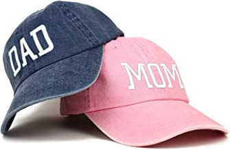 Trendy Apparel Shop Capital Mom and Dad Pigment Dyed Couple 2 Pc Cap Set
