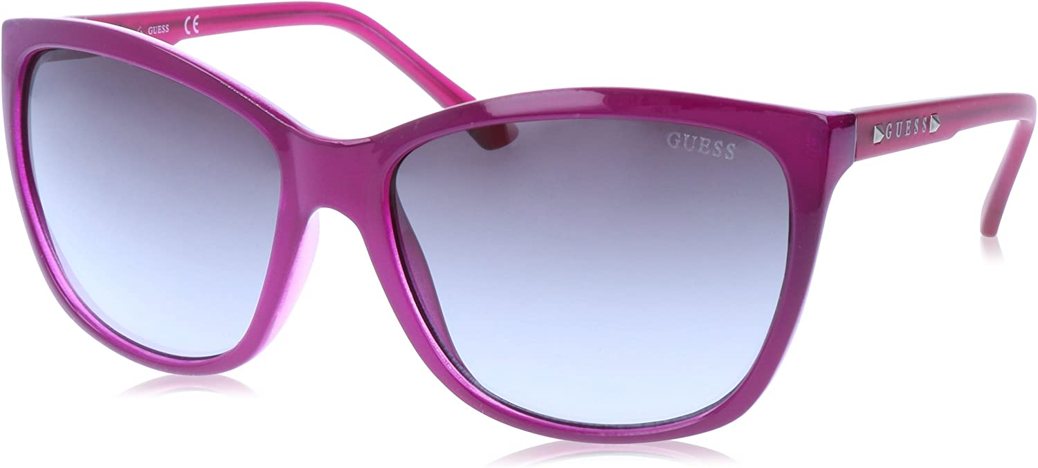 GUESS Women's Acetate Square Soft CatEye Rectangular Sunglasses, 81B, 60 mm