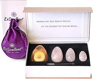 ExSoullent Jade Yoni Eggs Certified - Drilled Rose Quartz Crystal Egg 3-pcs Set for Women, Perfect Gift for Her | Kegel Exercise & Yoni Healing