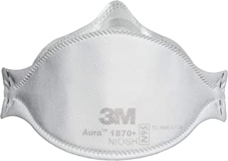 3M Aura Particulate Respirator/Surgical Mask, N95 Flat Fold Elastic Strap One Size Fits Most White, 1870+ - Box of 20