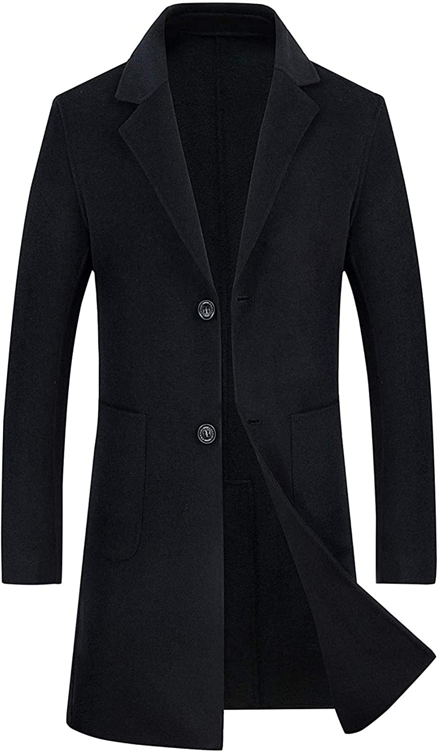 Men's Classic Notched Collar 2 Button Slim Unlined Wool Blend Midi Pea Coat