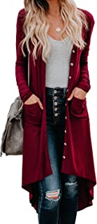 Dokotoo Womens Snap Button Down Pocketed Open Front Long Knited Cardigan Outerwear