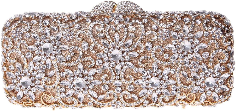 Fawziya Sun Flower Purse Women's Baguette Rhinestone Clutch Evening Bag-gold
