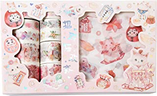 Doraking Cute Cartoon Animals Pets Cats Decorative Washi Masking Tapes Stickers Set for Scrapbooking, Gift Wrapping, Decor...