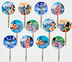Party Over Here Lilo and Stitch Double-Sided Cupcake Picks Cake Toppers -12 pcs