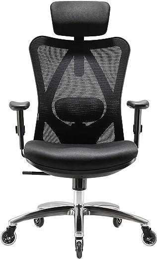 SIHOO Ergonomischer Schreibtischstuhl, Drehstuhl hat Verstellbarer Lordosenstütze, Kopfstütze und Armlehne, Höhenverstellung und Wippfunktion,…