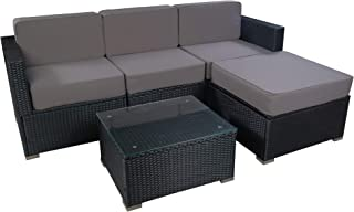 MCombo Patio Furniture Sectional Set Outdoor Wicker Sofa Lawn Garden Rattan Leisure Chair with Cushions and Tea Table 6082-5PC (Grey)
