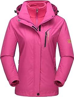 MAGCOMSEN Women's Winter 3 in 1 Jacket Windproof Hooded Softshell Outdoor Ski Snowboarding Jacket