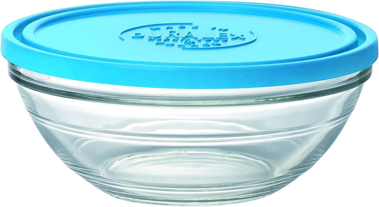 Duralex LYS 9068AM06Ensaladera Redonda con Tapa de Cristal Transparente/Azul, 23,2cm