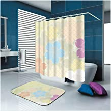 Epinki Polyester Washable Bathroom Curtain Set Colorful Flower Shower Curtain with 12 Hooks Size 165x200CM Shower Curtains...