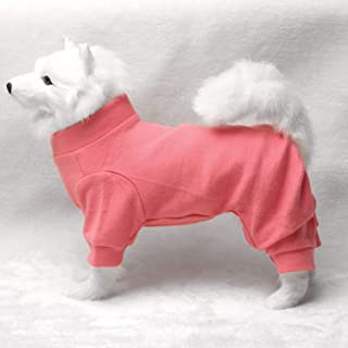 TONY HOBY Dog Pajamas Dog Jumpsuits 4 Legs Dog pjs Cotton Made Pure Color Pet Clothes(M 5.5-8.8lbs, Pink)