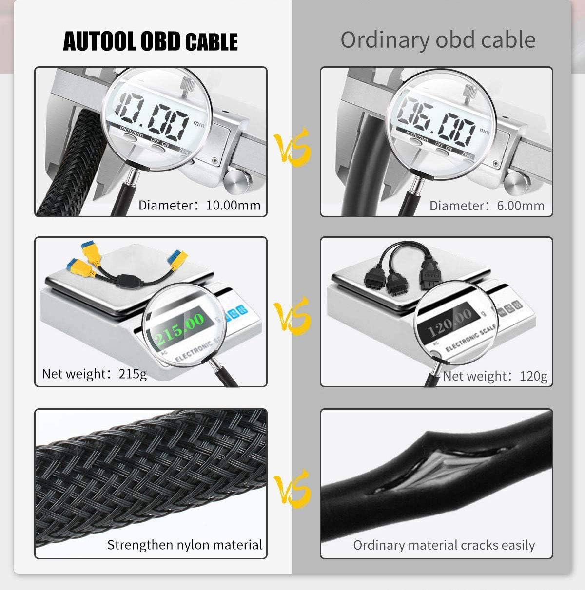 OURANTOOLS OBD-2-Verl/ängerungskabel Adapter AUTOOL OBD-II 16-Pin Adapter 1 Stecker auf 2 Buchsen Diagnose-Verl/ängerungskabel zum Anschluss von Codeleser /& Scanner Diagnosewerkzeug 35cm