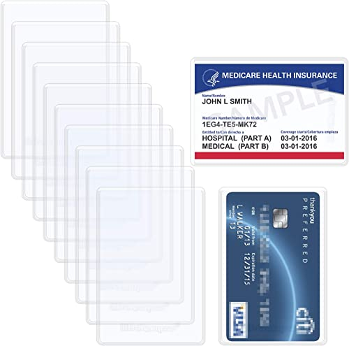 Wisdompro 10pcs Medicare Card Holder Protector Sleeves, 6 Mil Soft and Flexible Clear PVC Wallet Size Slot for NHS Va...
