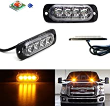iJDMTOY (2) Amber LED Strobe Warning Light Flashers For Truck, Jeep, 4x4, ATV, Construction Vehicles etc. Ultra Slim Extremely Bright Warning Lamps Each Powered by (4) High Power CREE LED Lights