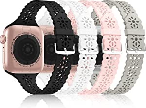 [Bandiction 4 Pack] Lace Silicone Bands Compatible with Apple Watch Band 38mm 40mm 42mm 44mm,Women Slim Thin Hollow-out iWatch Sport Wristband with Classic Clasp for iWatch Series SE 7 6 5 4 3 2 1