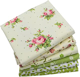 iNee Green Floral Fat Quarters Quilting Fabric Bundles, Sewing Fabric for Quilting Craftting,18 x 22 inches (Green Floral)