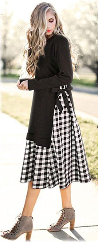 CHARTOU Women's Trendy Side Bowknot Patched Plaid Pleated Midi Dress Long Shirt