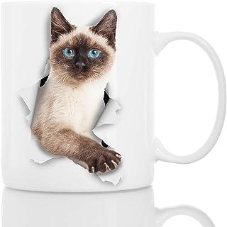 Winston & Bear Taza de Gato Siamés - Taza Gato Siames con Ojos Azules de Cerámica para Cafe Gato Siamés - Divertida y Bonita Taza de Café para Amantes de los Gatos