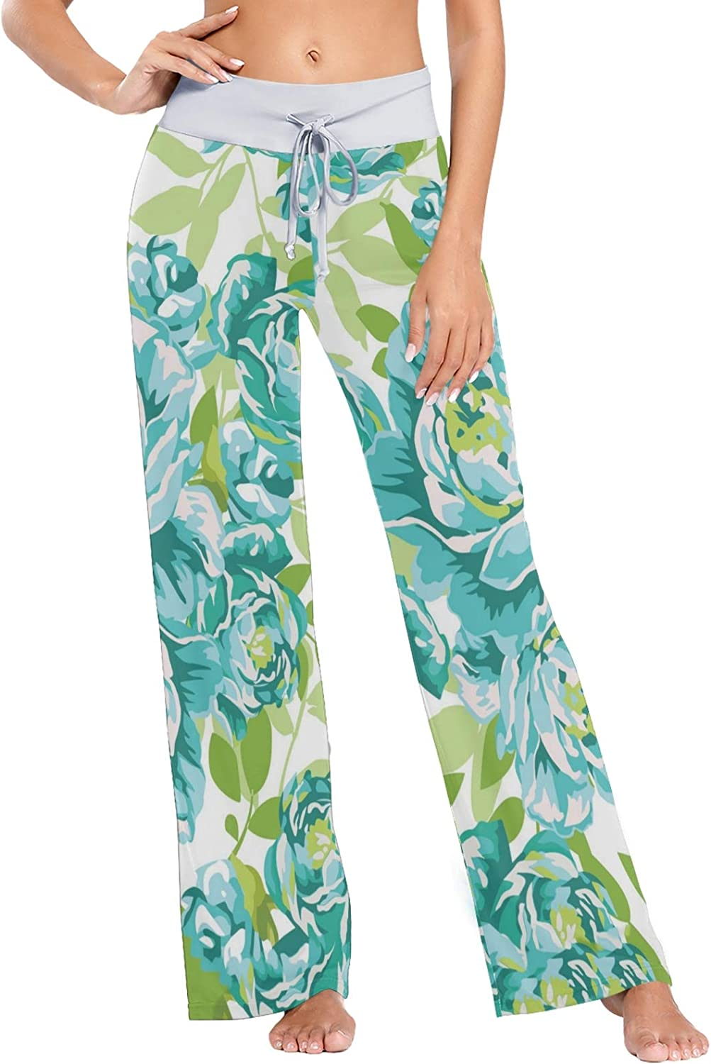MSACRH Pajama Pants for Women Flowers Green Spring new work Import one after another Pant Blue Sleepwear