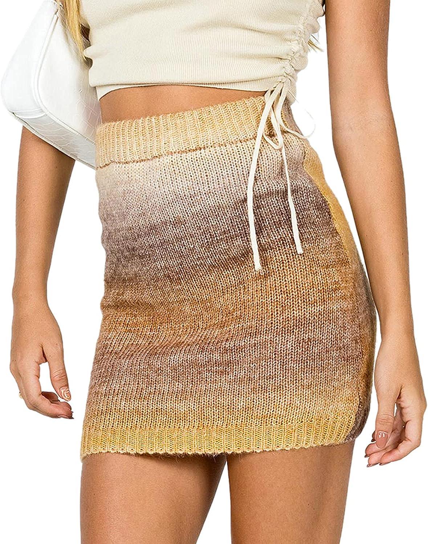 WKLZAQI Womens Casual Summer Rib Knit Mini Skirt Colorful Stripe Tie Dye Bodycon Skirt