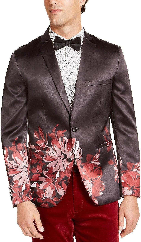 INC Mens Floral Slim Fit Blazer Black M