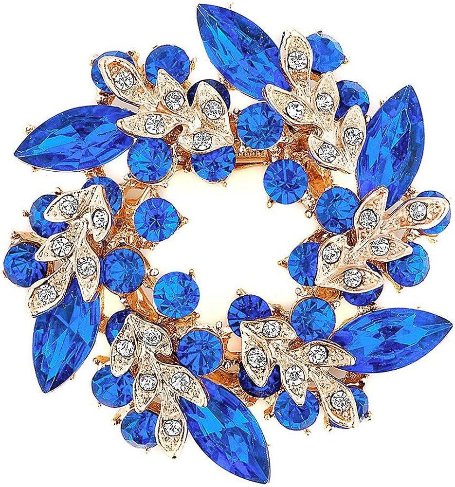 Locomo Fancy Cyrstal Rhinestone Round Brooch Pin Flower Floral Blossom Wreath Wedding JBH001BLU