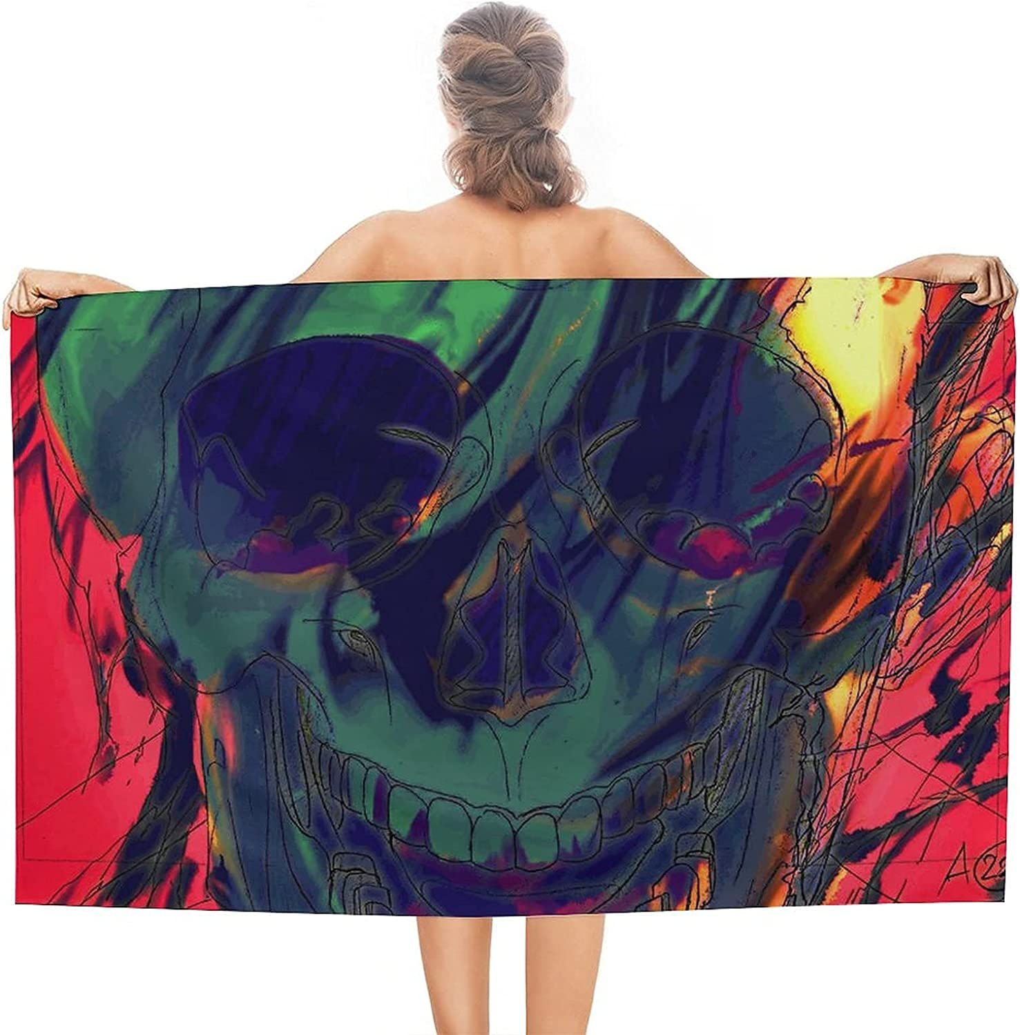 Watercolor Skull Limited time cheap sale Ranking TOP18 Beach Themed Towel Bab Superfine Dry Fiber Fast