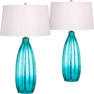 Stella Coastal Table Lamps Set of 2 Fluted Blue Glass White Drum Shade for Living Room Family Bedroom Bedside Nightstand - 360 Lighting